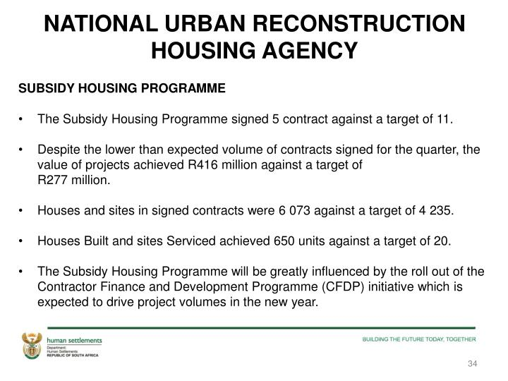 NATIONAL URBAN RECONSTRUCTION HOUSING AGENCY