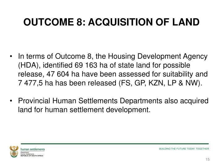 OUTCOME 8: ACQUISITION OF LAND