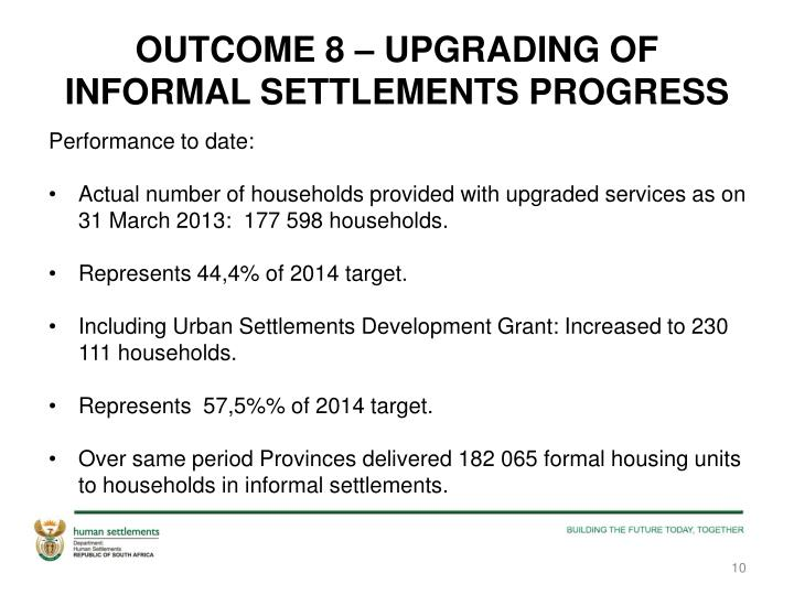 OUTCOME 8 – UPGRADING OF  INFORMAL SETTLEMENTS PROGRESS