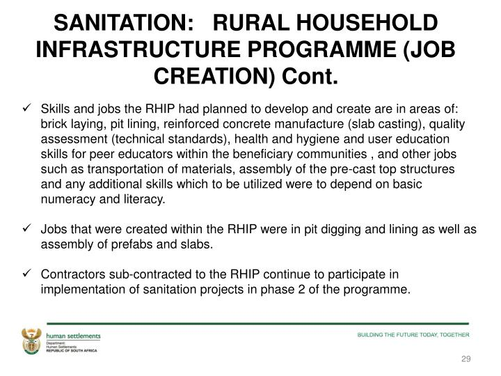 SANITATION:   RURAL HOUSEHOLD INFRASTRUCTURE PROGRAMME (JOB CREATION) Cont.