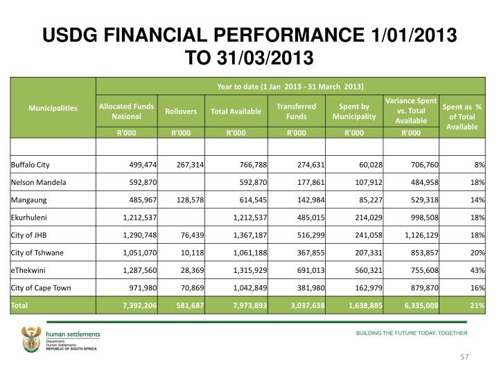 USDG FINANCIAL PERFORMANCE 1/01/2013 TO 31/03/2013