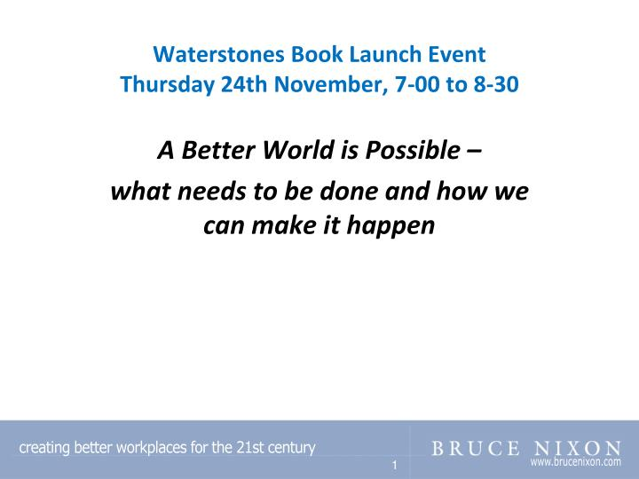 waterstones book launch event thursday 24th november 7 00 to 8 30 n.