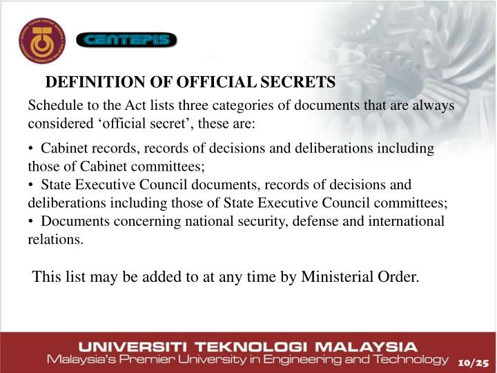 DEFINITION OF OFFICIAL SECRETS