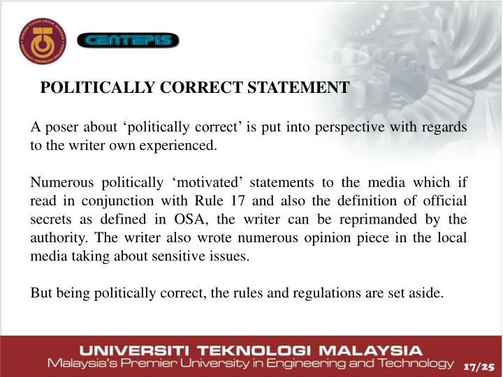 POLITICALLY CORRECT STATEMENT