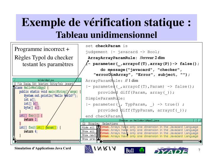 Exemple de vérification statique :