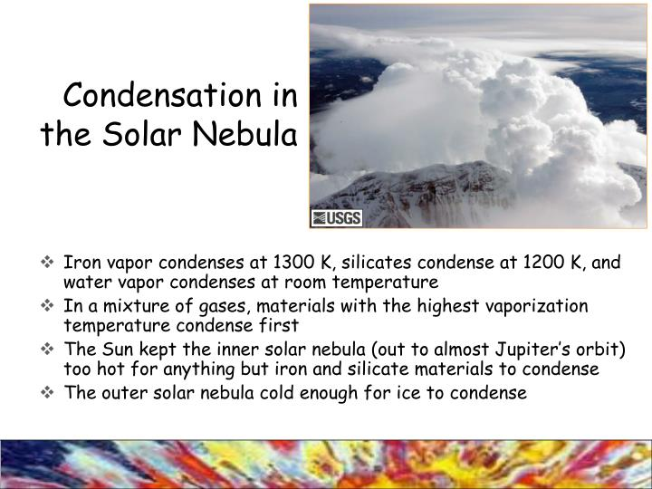 Condensation in the Solar Nebula