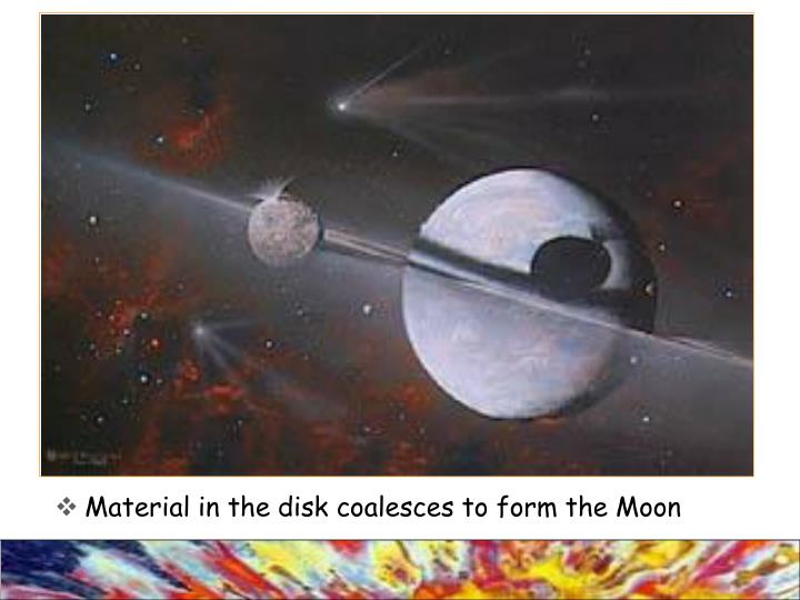 Material in the disk coalesces to form the Moon