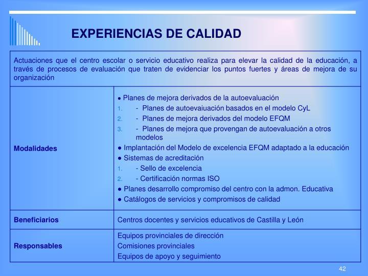 EXPERIENCIAS DE CALIDAD