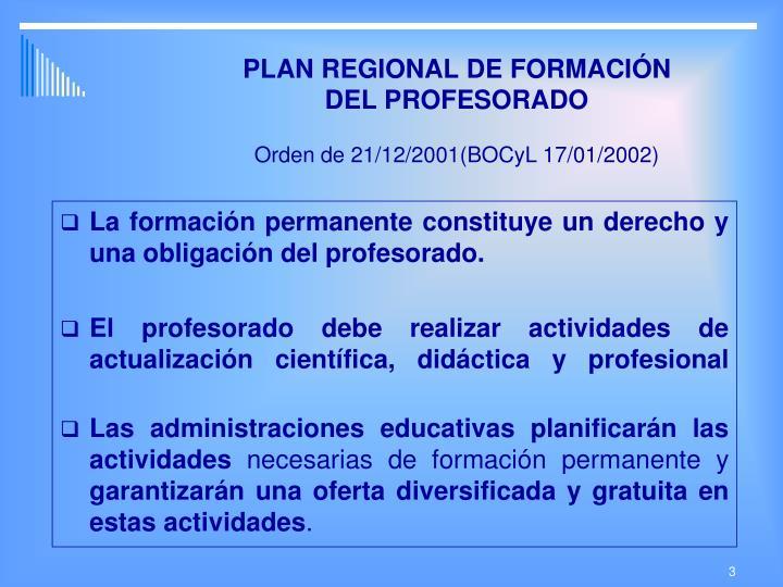Plan regional de formaci n del profesorado orden de 21 12 2001 bocyl 17 01 2002