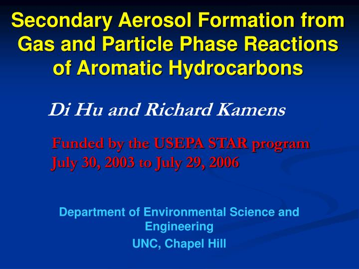 secondary aerosol formation from gas and particle phase reactions of aromatic hydrocarbons n.