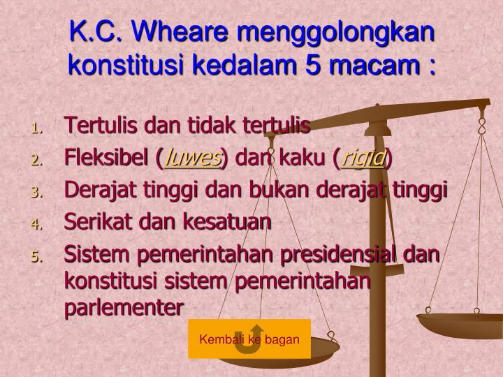 K.C. Wheare menggolongkan konstitusi kedalam 5 macam :