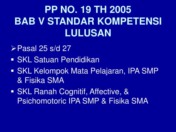 PP NO. 19 TH 2005