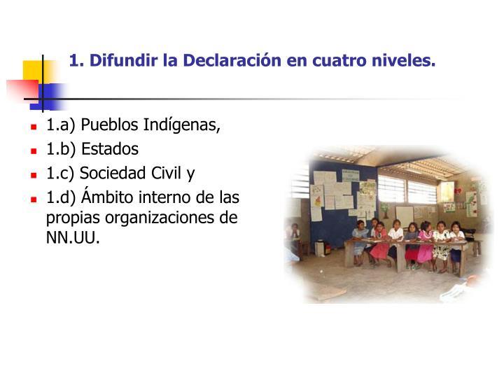 1. Difundir la Declaración en cuatro niveles.