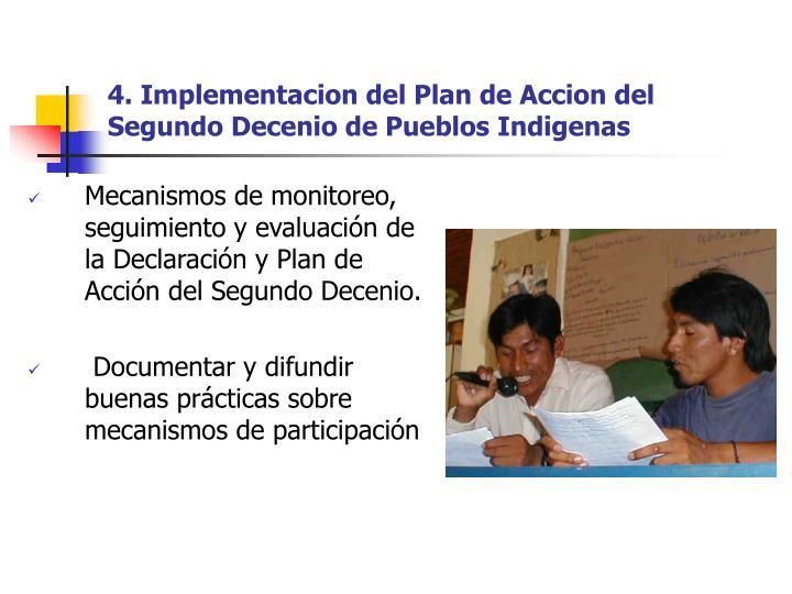 4. Implementacion del Plan de Accion del Segundo Decenio de Pueblos Indigenas