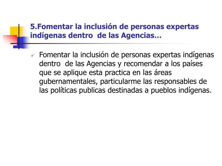 5.Fomentarla inclusión de personas expertas indígenas dentrode lasAgencias…