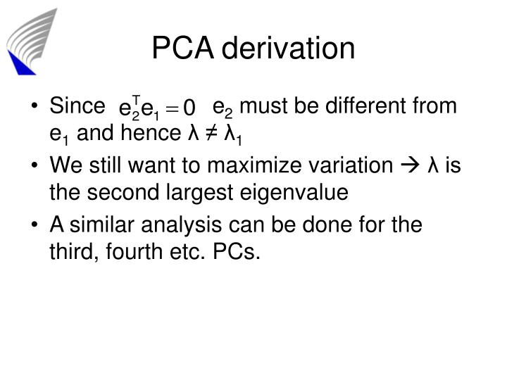 PCA derivation