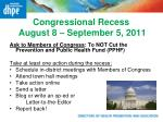 congressional recess august 8 september 5 2011