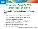prevention fund fy 2012 proposed 1 billion