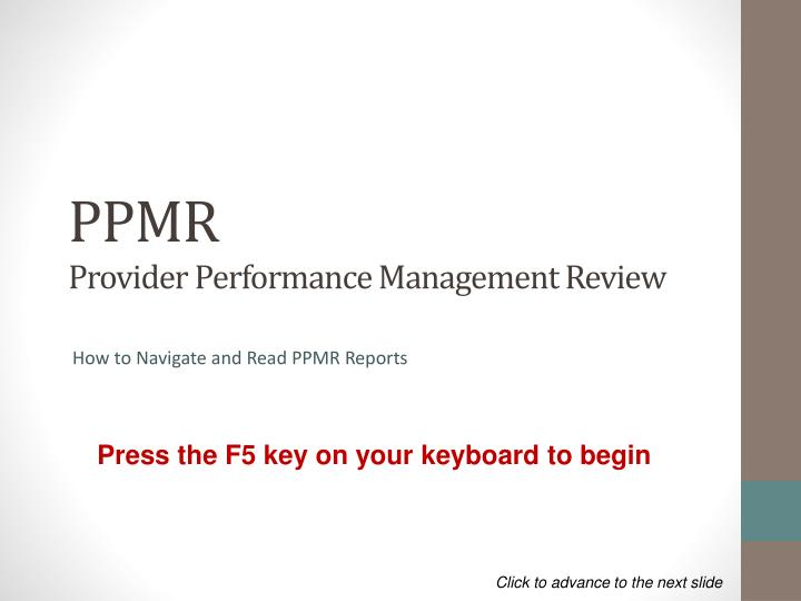 ppmr provider performance management review n.