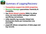 summary of logging recovery