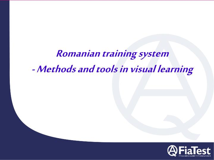 romanian training system methods and tools in visual learning n.