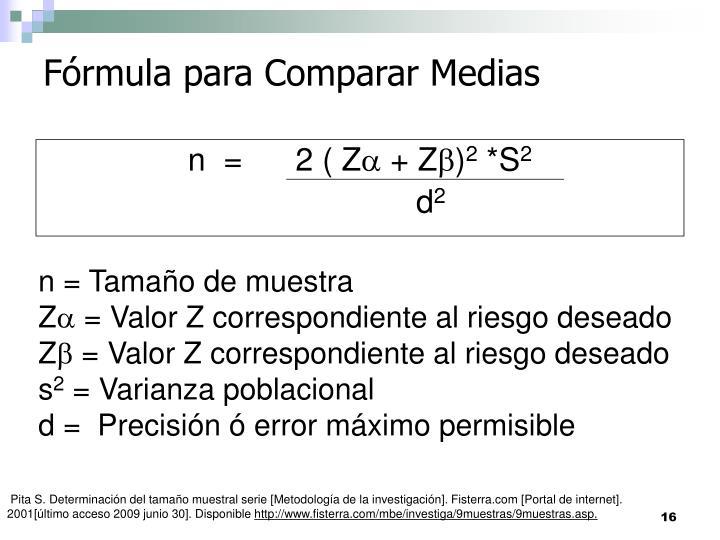Fórmula para Comparar Medias