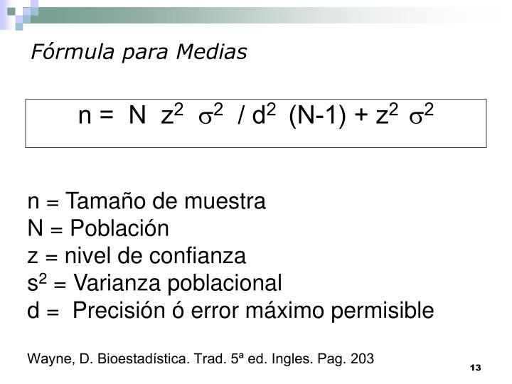 Fórmula para Medias