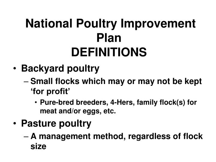 PPT - National Poultry Improvement Plan DEFINITIONS