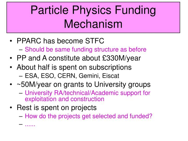 particle physics funding mechanism n.