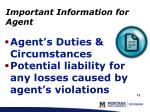 important information for agent