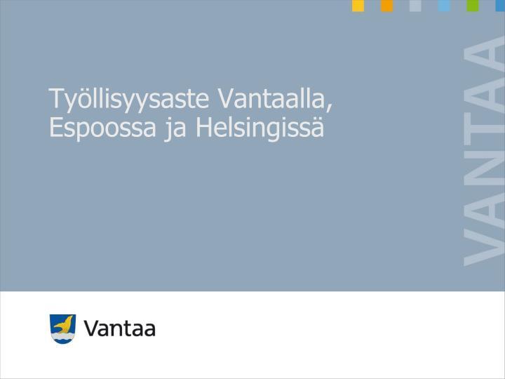 Työllisyysaste Vantaalla, Espoossa ja Helsingissä