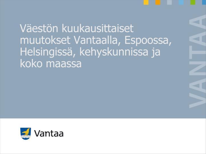 Väestön kuukausittaiset muutokset Vantaalla, Espoossa, Helsingissä, kehyskunnissa ja koko maassa