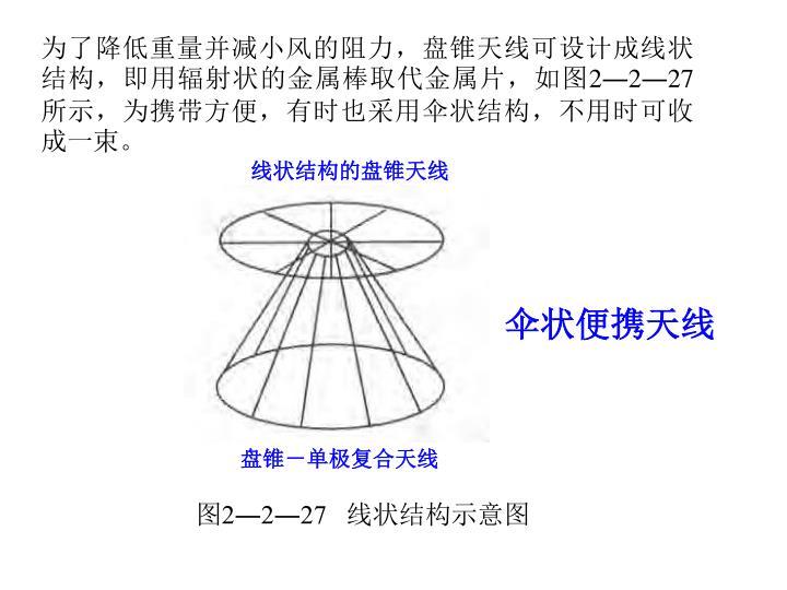 为了降低重量并减小风的阻力,盘锥天线可设计成线状结构,即用辐射状的金属棒取代金属片,如图