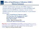 office of small business utilization osbu mission statement