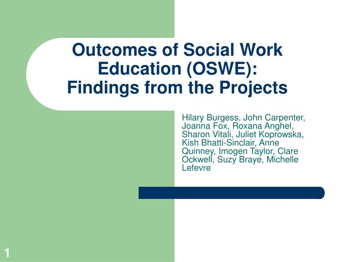 outcomes of social work education oswe findings from the projects n.