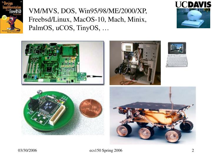 VM/MVS, DOS, Win95/98/ME/2000/XP, Freebsd/Linux, MacOS-10, Mach, Minix, PalmOS, uCOS, TinyOS, …