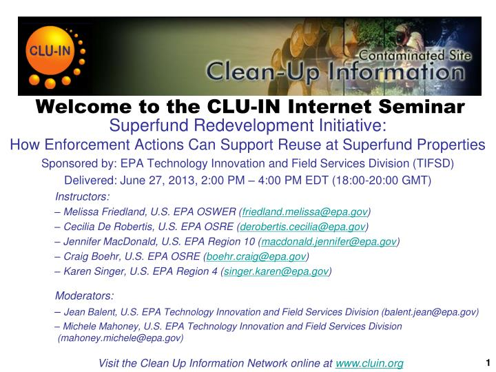 welcome to the clu in internet seminar n.
