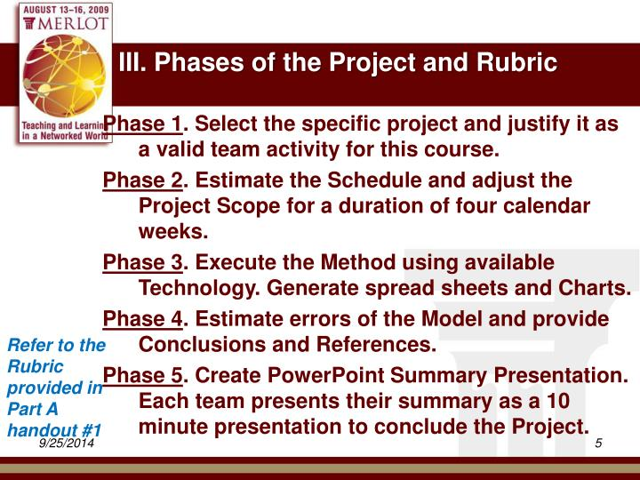 III. Phases of the Project and Rubric
