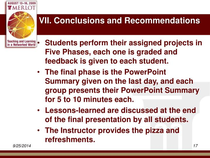 VII. Conclusions and Recommendations