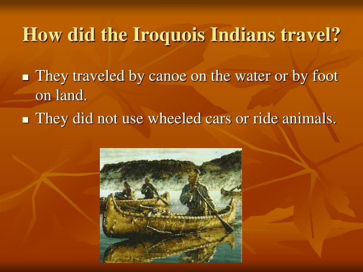 How did the Iroquois Indians travel?