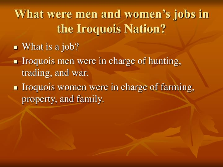 What were men and women's jobs in the Iroquois Nation?