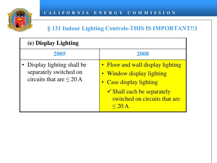 § 131 Indoor Lighting Controls-THIS IS IMPORTANT!!1