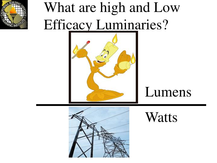 What are high and Low Efficacy Luminaries?