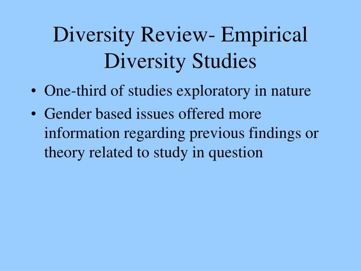 Diversity Review- Empirical Diversity Studies