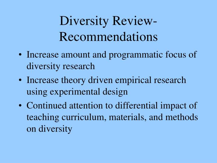 Diversity Review- Recommendations