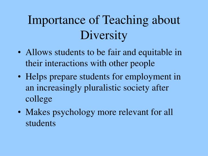 Importance of teaching about diversity