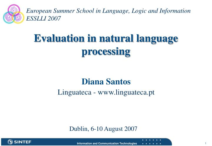 evaluation in natural language processing n.