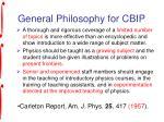 general philosophy for cbip
