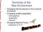 summary of the new environment