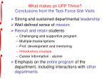 what makes an upp thrive conclusions from the task force site visits